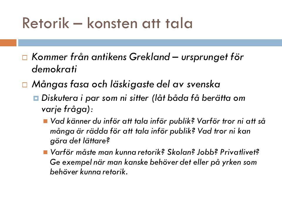 Retorik – konsten att tala  Kommer från antikens Grekland – ursprunget för demokrati  Mångas fasa och läskigaste del av svenska  Diskutera i par so