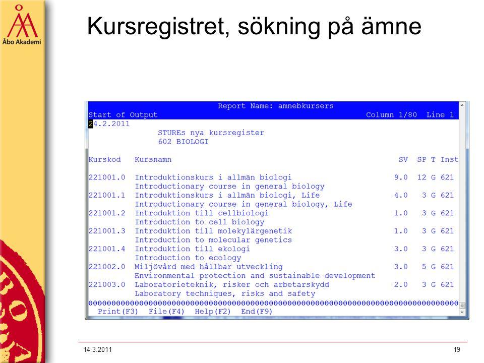 Kursregistret, sökning på ämne 14.3.201119