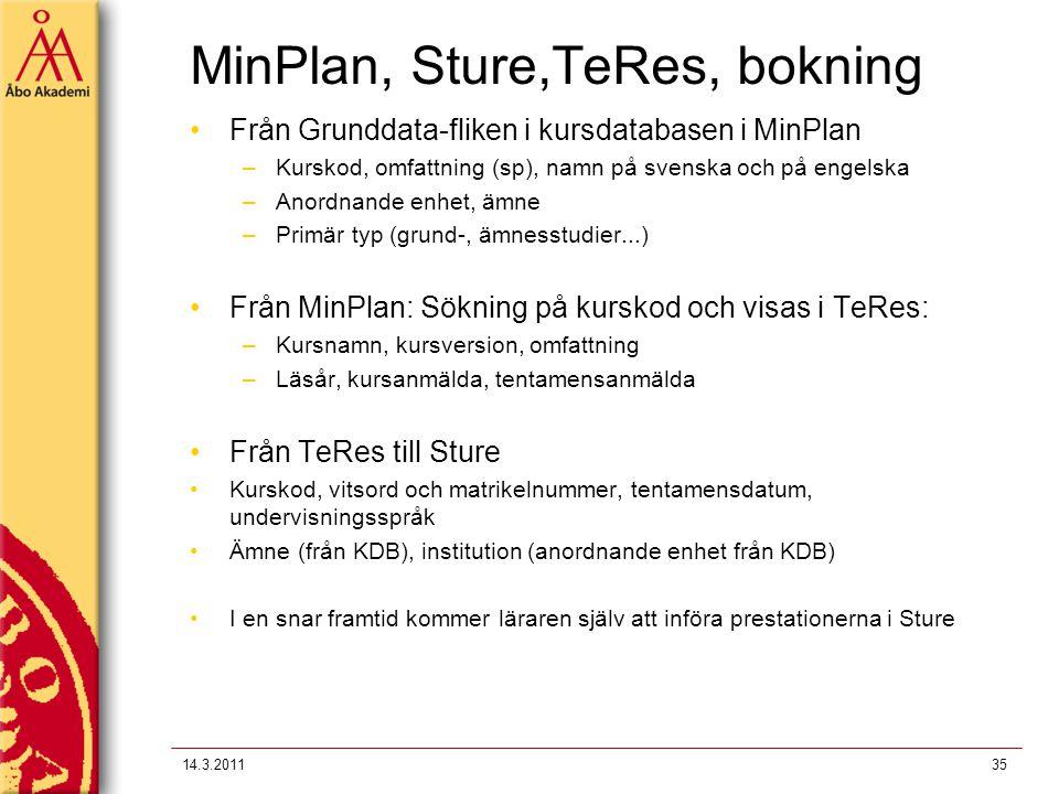 MinPlan, Sture,TeRes, bokning Från Grunddata-fliken i kursdatabasen i MinPlan –Kurskod, omfattning (sp), namn på svenska och på engelska –Anordnande e