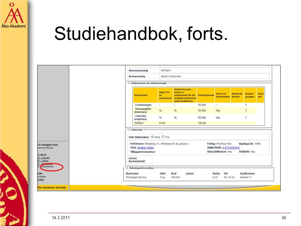 14.3.201140 Studiehandbok, forts.