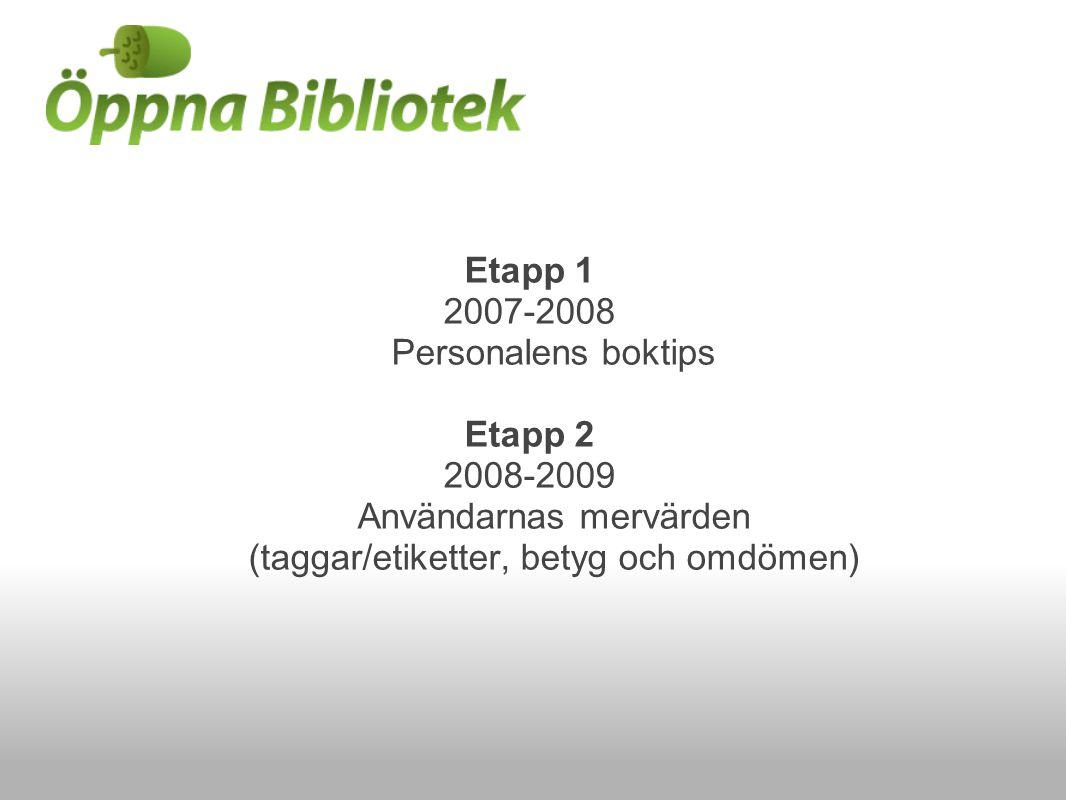 Etapp 1 2007-2008 Personalens boktips Etapp 2 2008-2009 Användarnas mervärden (taggar/etiketter, betyg och omdömen)