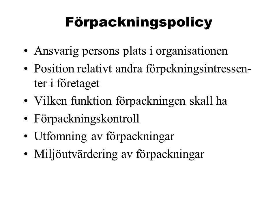 Förpackningspolicy Ansvarig persons plats i organisationen Position relativt andra förpckningsintressen- ter i företaget Vilken funktion förpackningen skall ha Förpackningskontroll Utfomning av förpackningar Miljöutvärdering av förpackningar