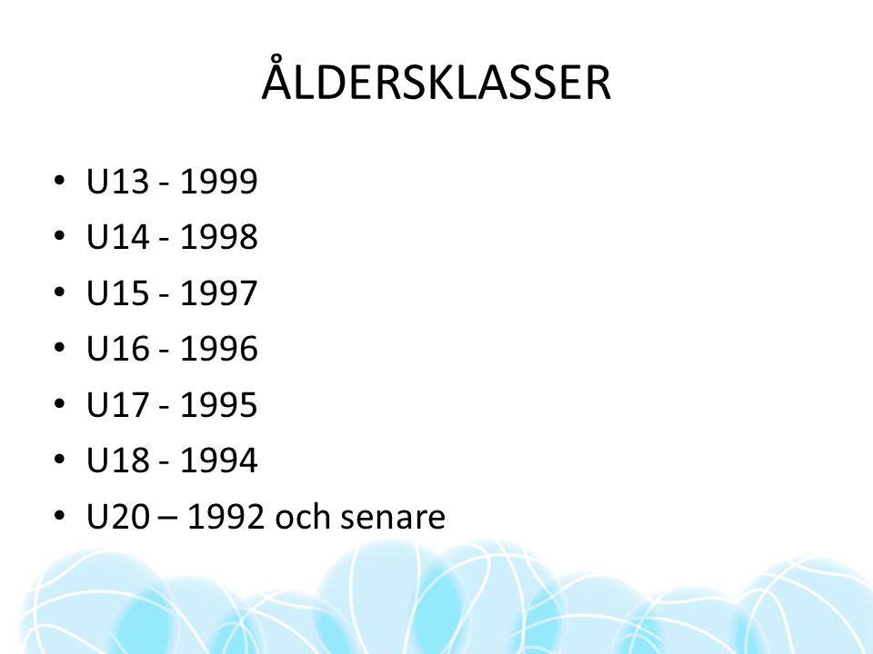 ÅLDERSKLASSER U13 - 1999 U14 - 1998 U15 - 1997 U16 - 1996 U17 - 1995 U18 - 1994 U20 – 1992 och senare