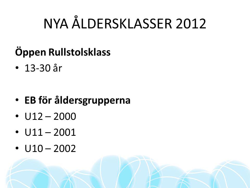 NYA ÅLDERSKLASSER 2012 Öppen Rullstolsklass 13-30 år EB för åldersgrupperna U12 – 2000 U11 – 2001 U10 – 2002