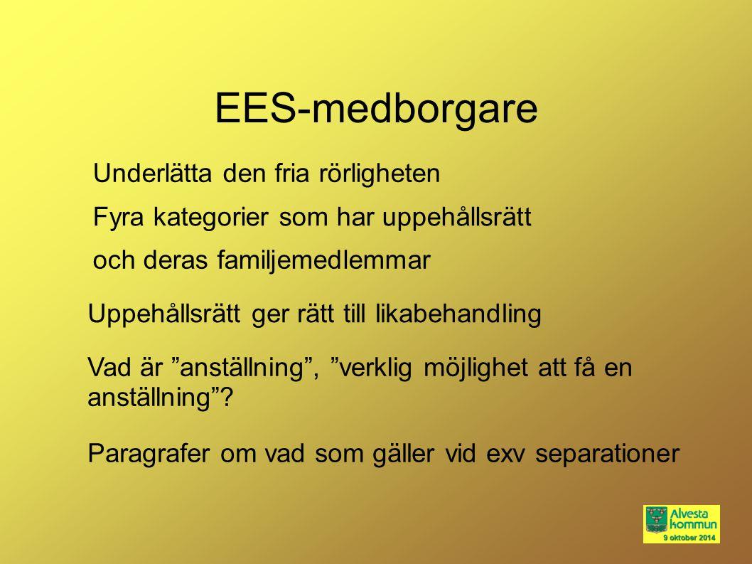 """EES-medborgare Vad är """"anställning"""", """"verklig möjlighet att få en anställning""""? Paragrafer om vad som gäller vid exv separationer Uppehållsrätt ger rä"""
