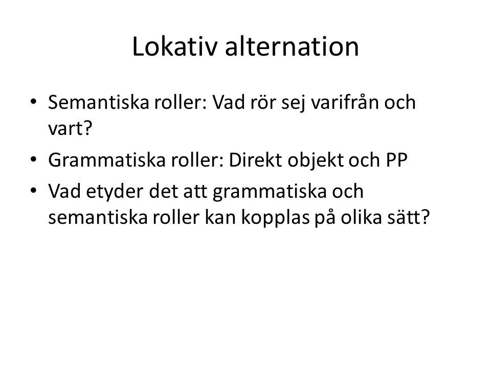Lokativ alternation Semantiska roller: Vad rör sej varifrån och vart.