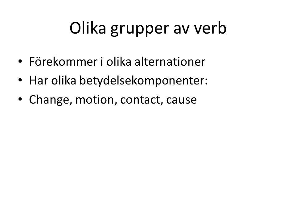 Olika grupper av verb Förekommer i olika alternationer Har olika betydelsekomponenter: Change, motion, contact, cause