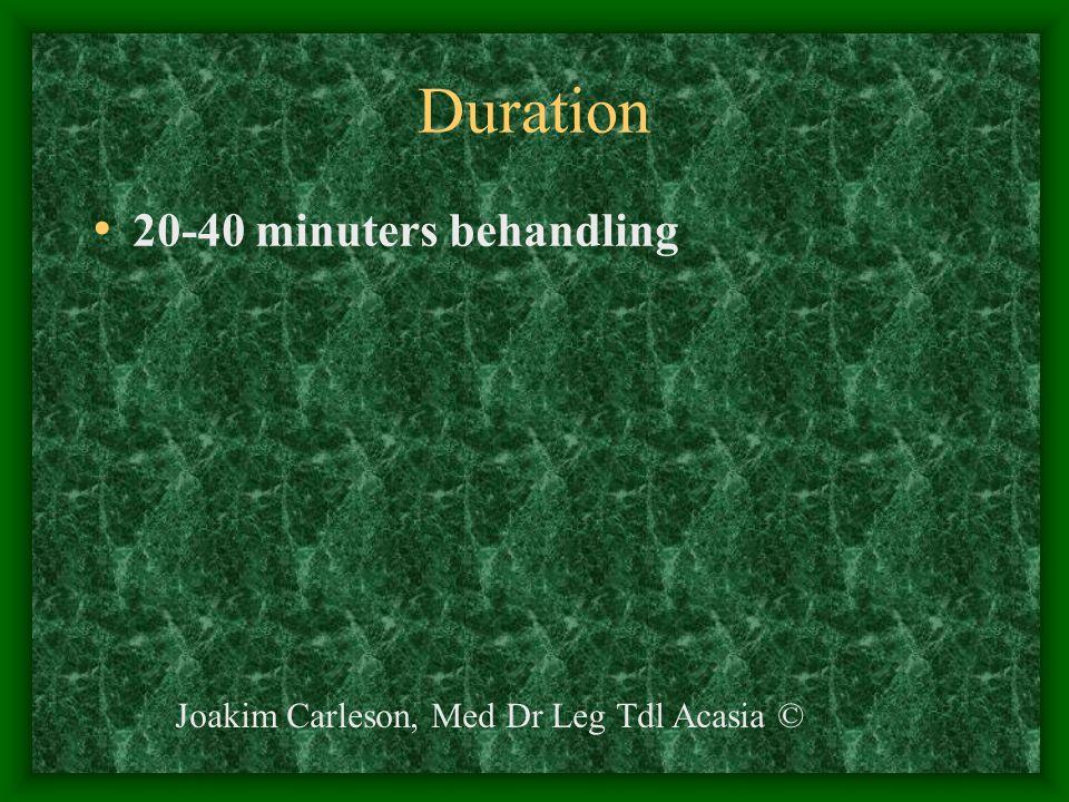 Duration 20-40 minuters behandling Joakim Carleson, Med Dr Leg Tdl Acasia ©