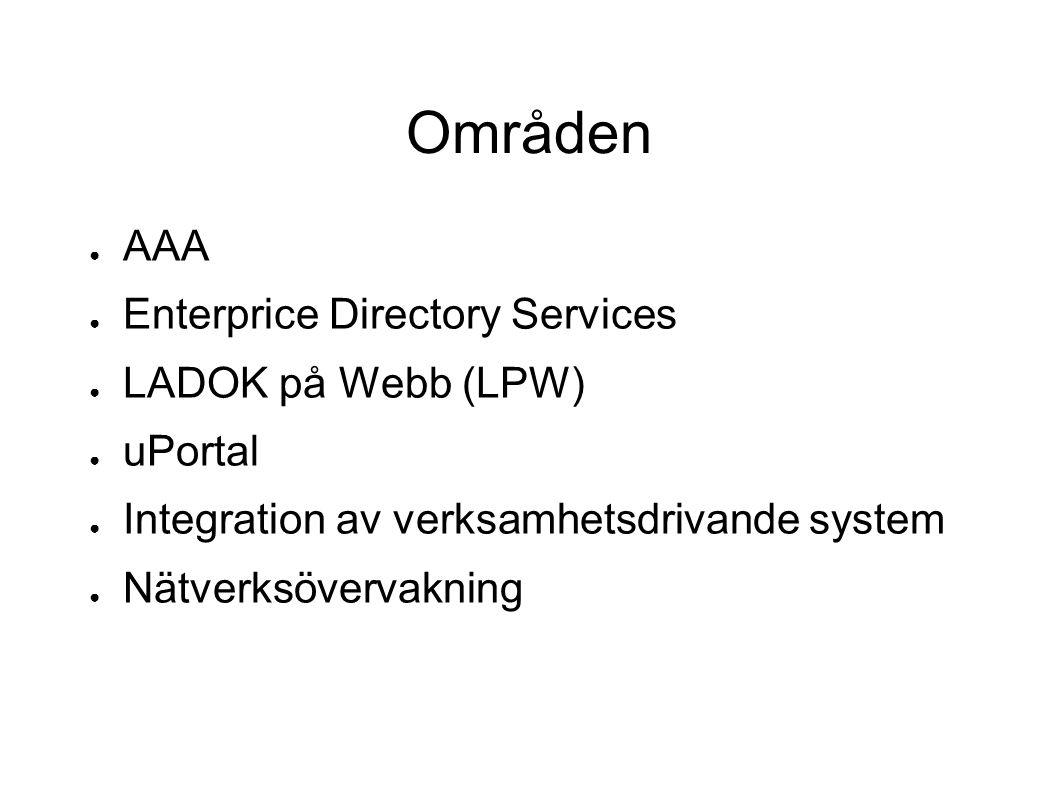 Områden ● AAA ● Enterprice Directory Services ● LADOK på Webb (LPW) ● uPortal ● Integration av verksamhetsdrivande system ● Nätverksövervakning