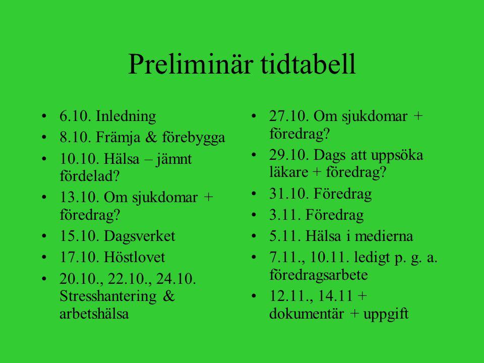 Föredrag om finska folksjukdomar Föredraget hålls parvis Välj en sjukdom (s.