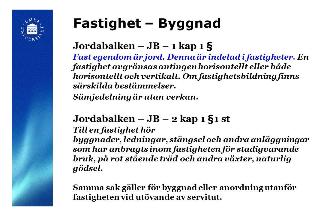 Fastighet – Byggnad Jordabalken – JB – 1 kap 1 § Fast egendom är jord.