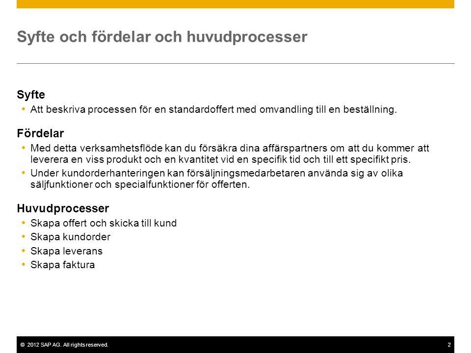 ©2012 SAP AG. All rights reserved.2 Syfte och fördelar och huvudprocesser Syfte  Att beskriva processen för en standardoffert med omvandling till en