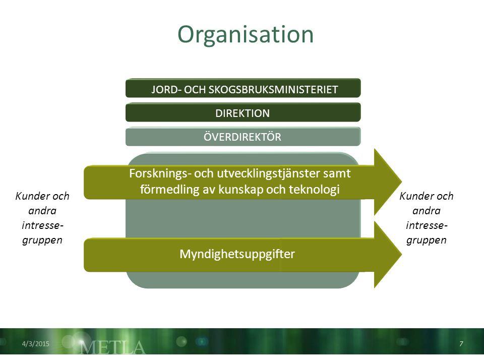 Nationell och internationell Metla är en av de kändaste skogsforskningsorganisationerna i världen Metla är en processorganisation, som via sina regionala enheter samt olika styrgrupper och delegationer har kontaktytor över hela Finland.