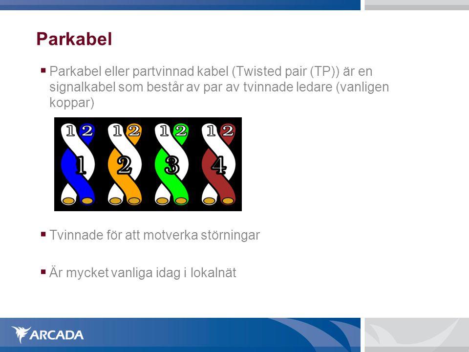 Parkabel  Parkabel eller partvinnad kabel (Twisted pair (TP)) är en signalkabel som består av par av tvinnade ledare (vanligen koppar)  Tvinnade för att motverka störningar  Är mycket vanliga idag i lokalnät