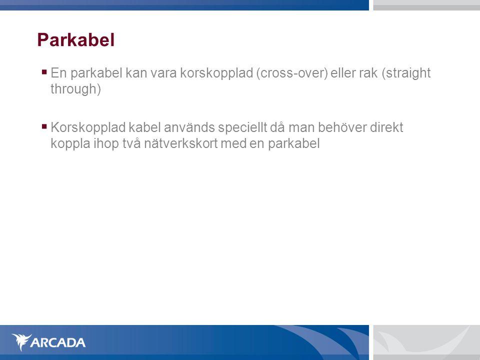 Parkabel  En parkabel kan vara korskopplad (cross-over) eller rak (straight through)  Korskopplad kabel används speciellt då man behöver direkt koppla ihop två nätverkskort med en parkabel