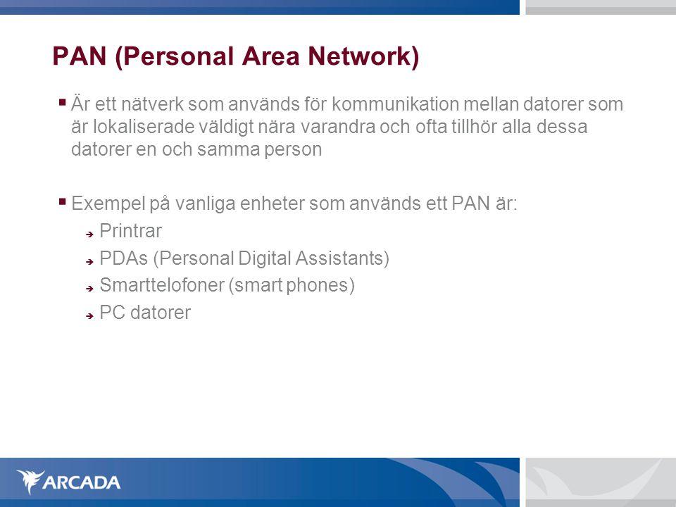 PAN (Personal Area Network)  Är ett nätverk som används för kommunikation mellan datorer som är lokaliserade väldigt nära varandra och ofta tillhör alla dessa datorer en och samma person  Exempel på vanliga enheter som används ett PAN är:  Printrar  PDAs (Personal Digital Assistants)  Smarttelofoner (smart phones)  PC datorer