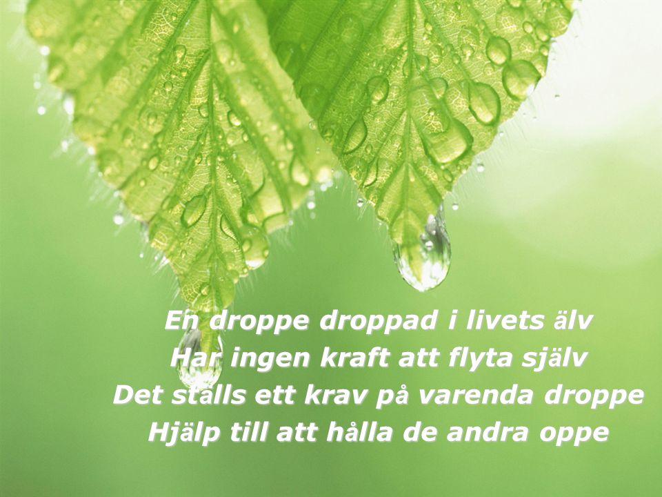 En droppe droppad i livets ä lv Har ingen kraft att flyta sj ä lv Det st ä lls ett krav p å varenda droppe Hj ä lp till att h å lla de andra oppe