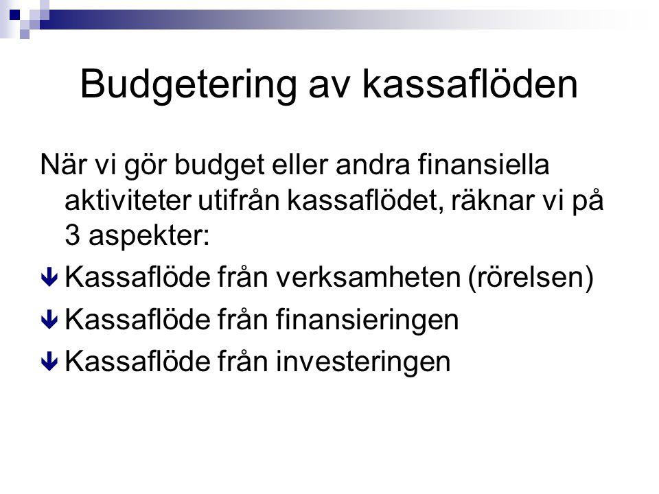 Budgetering av kassaflöden När vi gör budget eller andra finansiella aktiviteter utifrån kassaflödet, räknar vi på 3 aspekter: ê Kassaflöde från verks