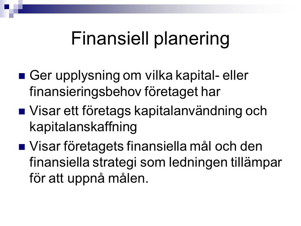 Finansiell planering Ger upplysning om vilka kapital- eller finansieringsbehov företaget har Visar ett företags kapitalanvändning och kapitalanskaffni