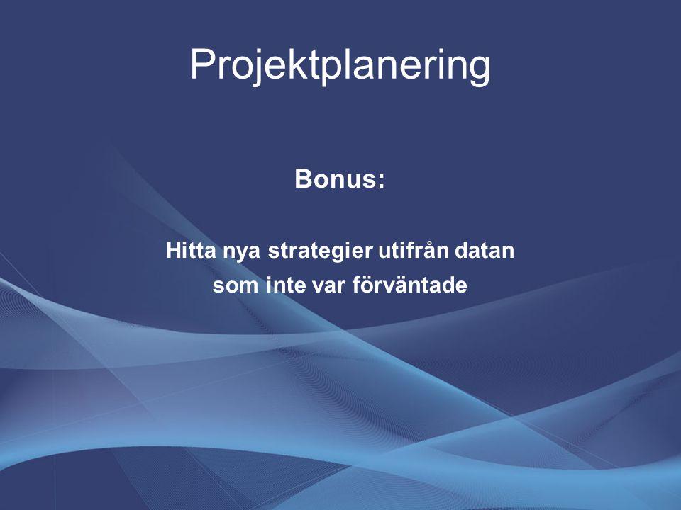 Projektplanering Bonus: Hitta nya strategier utifrån datan som inte var förväntade