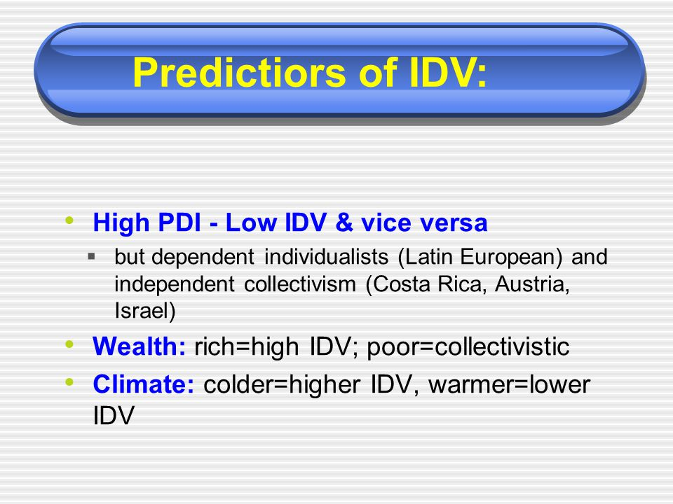 High PDI - Low IDV & vice versa  but dependent individualists (Latin European) and independent collectivism (Costa Rica, Austria, Israel) Wealth: ric