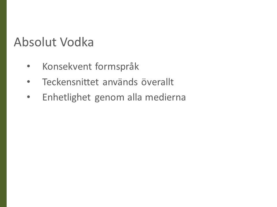 Absolut Vodka Konsekvent formspråk Teckensnittet används överallt Enhetlighet genom alla medierna