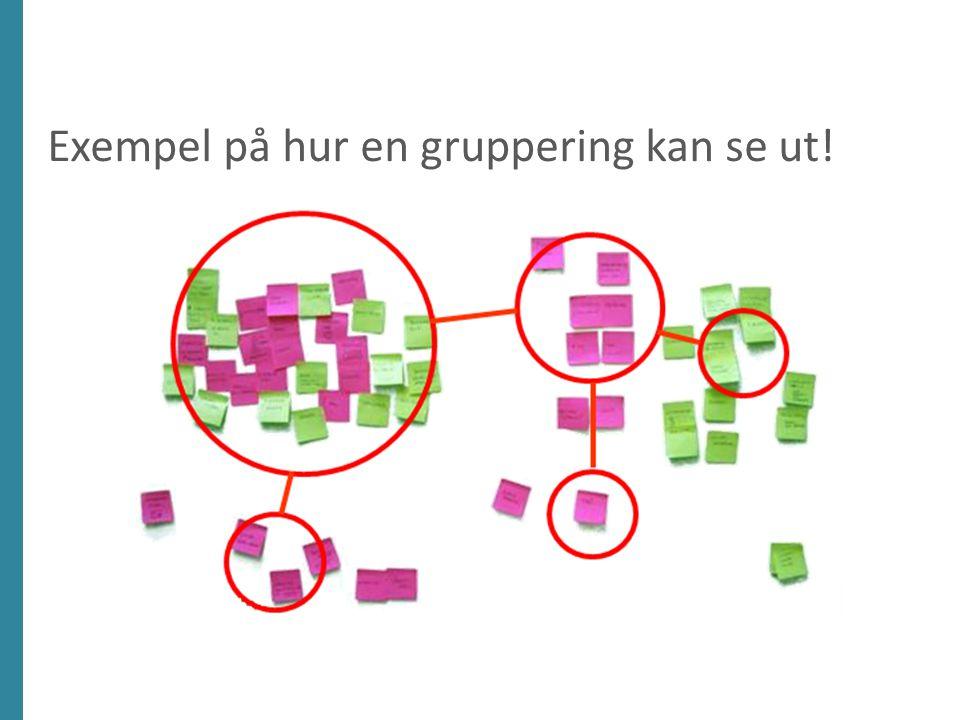Exempel på hur en gruppering kan se ut!