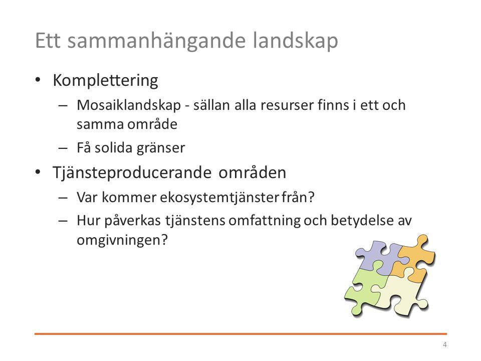 Ett sammanhängande landskap Komplettering – Mosaiklandskap - sällan alla resurser finns i ett och samma område – Få solida gränser Tjänsteproducerande