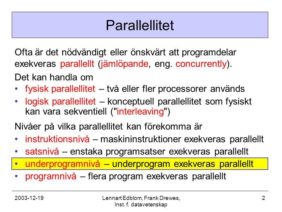 2003-12-19Lennart Edblom, Frank Drewes, Inst.f. datavetenskap 3 Varför parallella underprogram.