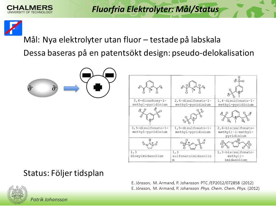 Patrik Johansson Fluorfria Elektrolyter: Mål/Status Mål: Nya elektrolyter utan fluor – testade på labskala Dessa baseras på en patentsökt design: pseudo-delokalisation Status: Följer tidsplan E.