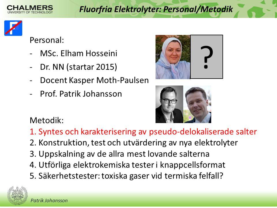 Patrik Johansson Fluorfria Elektrolyter: Personal/Metodik Personal: -MSc.
