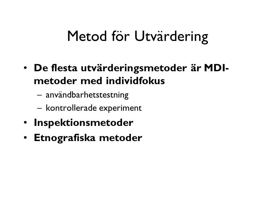 Metod för Utvärdering De flesta utvärderingsmetoder är MDI- metoder med individfokus –användbarhetstestning –kontrollerade experiment Inspektionsmetoder Etnografiska metoder