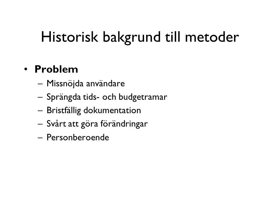 Historisk bakgrund till metoder Problem –Missnöjda användare –Sprängda tids- och budgetramar –Bristfällig dokumentation –Svårt att göra förändringar –