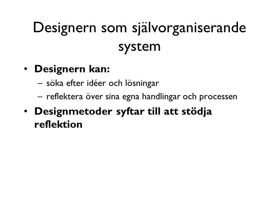 Designern som självorganiserande system Designern kan: –söka efter idéer och lösningar –reflektera över sina egna handlingar och processen Designmetod