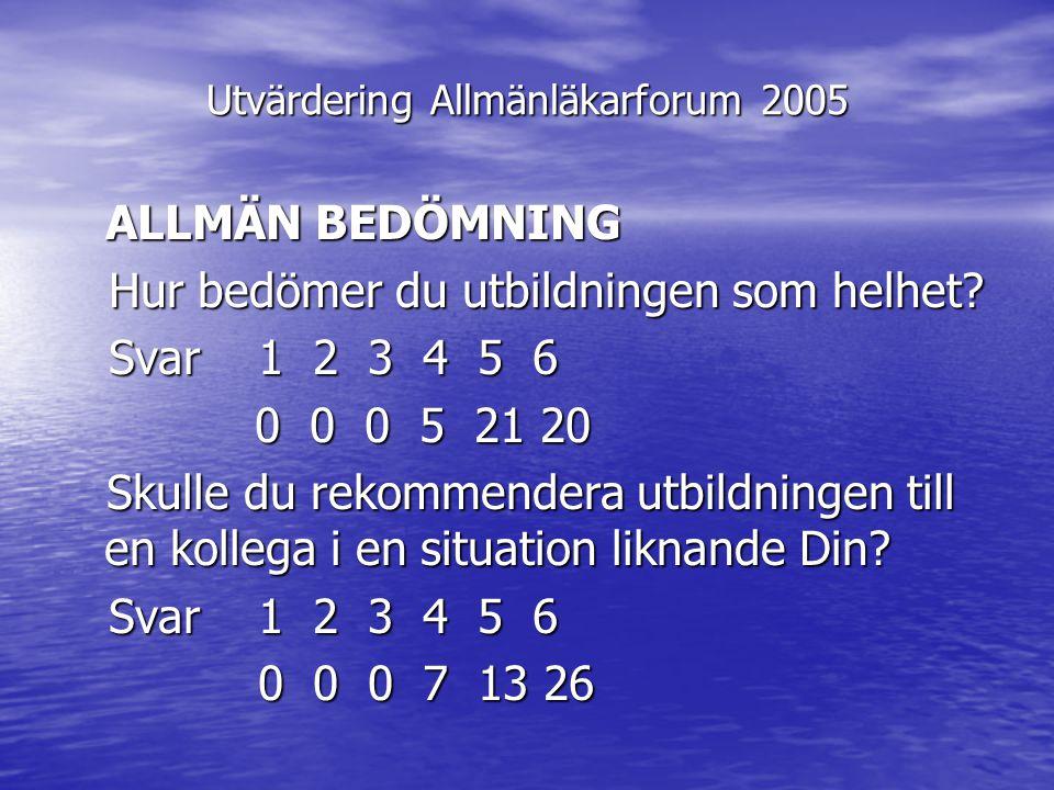 Utvärdering Allmänläkarforum 2005 ALLMÄN BEDÖMNING ALLMÄN BEDÖMNING Hur bedömer du utbildningen som helhet? Hur bedömer du utbildningen som helhet? Sv
