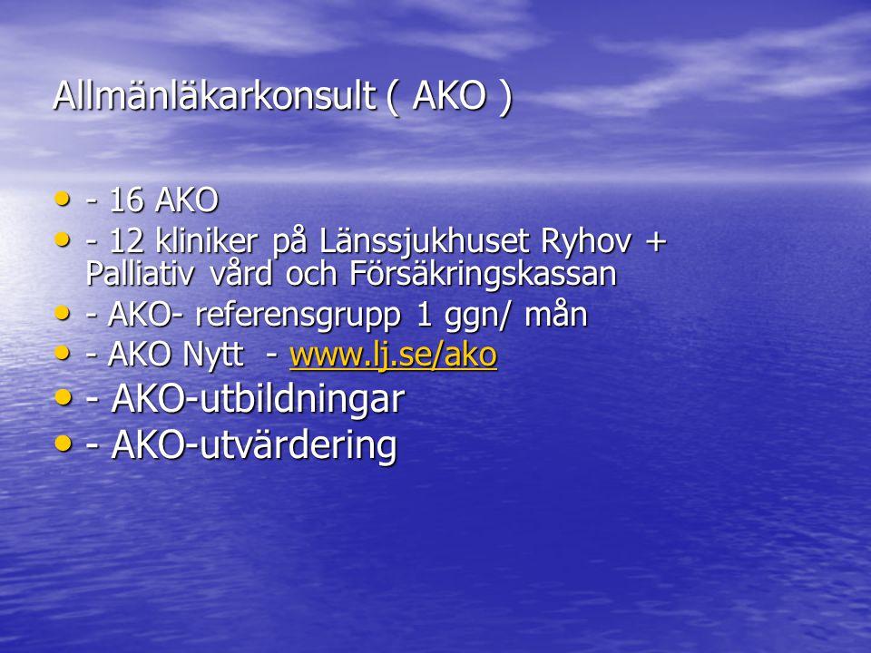 Allmänläkarkonsult ( AKO ) - 16 AKO - 16 AKO - 12 kliniker på Länssjukhuset Ryhov + Palliativ vård och Försäkringskassan - 12 kliniker på Länssjukhuse
