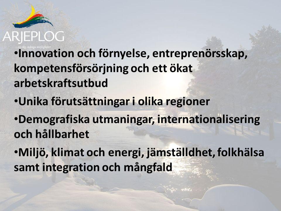 Innovation och förnyelse, entreprenörsskap, kompetensförsörjning och ett ökat arbetskraftsutbud Unika förutsättningar i olika regioner Demografiska utmaningar, internationalisering och hållbarhet Miljö, klimat och energi, jämställdhet, folkhälsa samt integration och mångfald