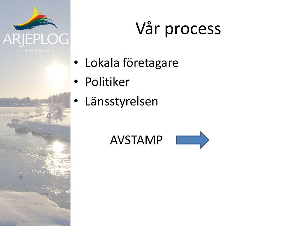 Vår process Lokala företagare Politiker Länsstyrelsen AVSTAMP