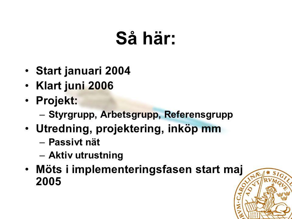 Så här: Start januari 2004 Klart juni 2006 Projekt: –Styrgrupp, Arbetsgrupp, Referensgrupp Utredning, projektering, inköp mm –Passivt nät –Aktiv utrustning Möts i implementeringsfasen start maj 2005