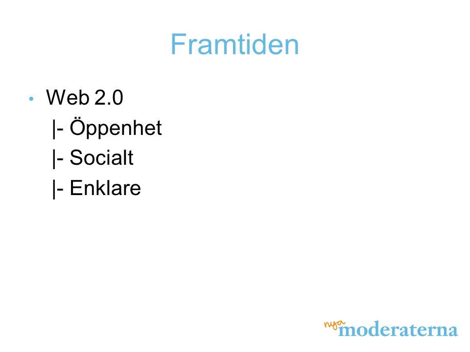 Framtiden Web 2.0 |- Öppenhet |- Socialt |- Enklare