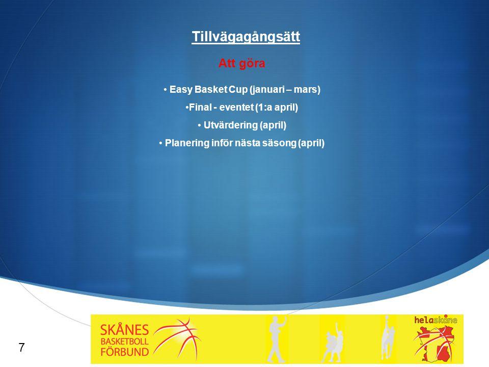  Tillvägagångsätt Att göra Easy Basket Cup (januari – mars) Final - eventet (1:a april) Utvärdering (april) Planering inför nästa säsong (april) 7