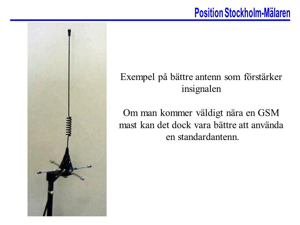 Exempel på bättre antenn som förstärker insignalen Om man kommer väldigt nära en GSM mast kan det dock vara bättre att använda en standardantenn.