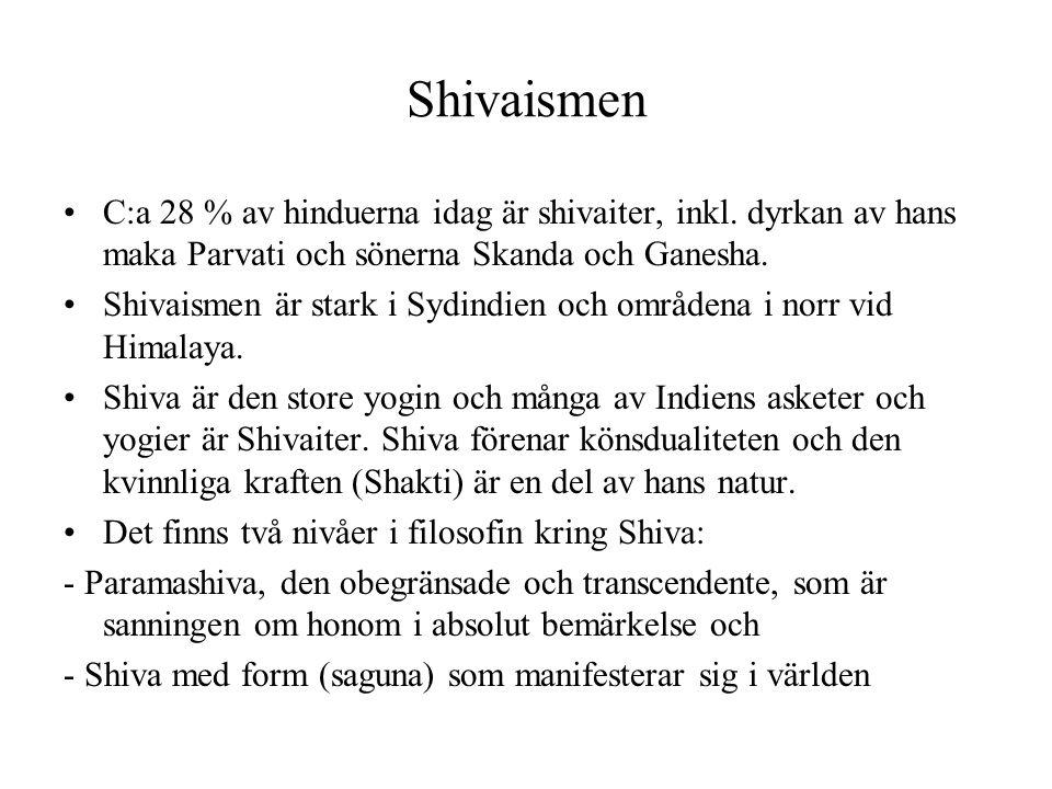 Shivaismen C:a 28 % av hinduerna idag är shivaiter, inkl. dyrkan av hans maka Parvati och sönerna Skanda och Ganesha. Shivaismen är stark i Sydindien