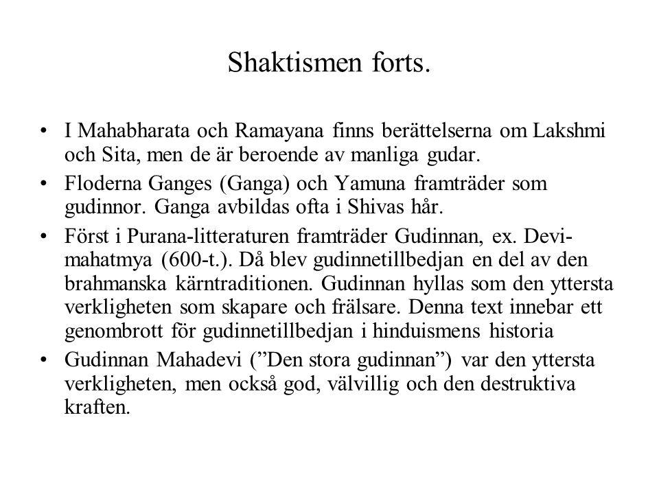 Shaktismen forts. I Mahabharata och Ramayana finns berättelserna om Lakshmi och Sita, men de är beroende av manliga gudar. Floderna Ganges (Ganga) och