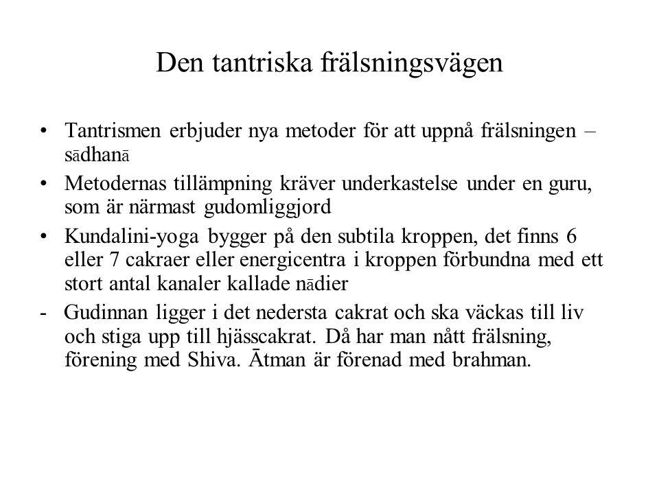 Den tantriska frälsningsvägen Tantrismen erbjuder nya metoder för att uppnå frälsningen – s ā dhan ā Metodernas tillämpning kräver underkastelse under