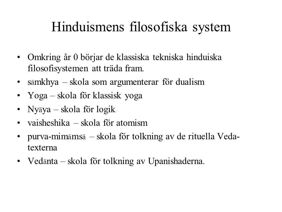 Hinduismens filosofiska system Omkring år 0 börjar de klassiska tekniska hinduiska filosofisystemen att träda fram. s ā mkhya – skola som argumenterar