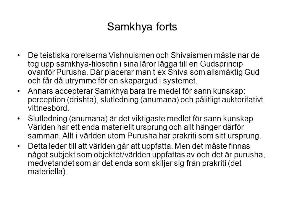Samkhya forts De teistiska rörelserna Vishnuismen och Shivaismen måste när de tog upp samkhya-filosofin i sina läror lägga till en Gudsprincip ovanför