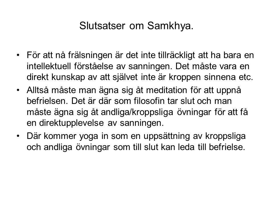Slutsatser om Samkhya. För att nå frälsningen är det inte tillräckligt att ha bara en intellektuell förståelse av sanningen. Det måste vara en direkt