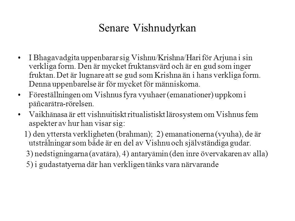 Senare Vishnudyrkan I Bhagavadgita uppenbarar sig Vishnu/Krishna/Hari för Arjuna i sin verkliga form. Den är mycket fruktansvärd och är en gud som ing