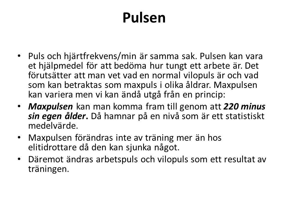 Pulsen Puls och hjärtfrekvens/min är samma sak. Pulsen kan vara et hjälpmedel för att bedöma hur tungt ett arbete är. Det förutsätter att man vet vad